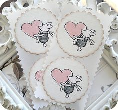 NEW - Classic Winnie the Pooh Piglet Valentine Stickers / Envelope Seals - Set of 8 - 2 inch - Vintage / Cottage Chic - Favors, Baby Showers...