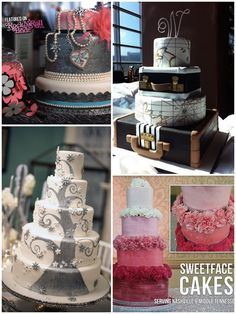 """Let's spice up the """"traditional"""" wedding cake! These beauties were created by Sweetface Cakes! #w101nashville #nashvilleweddings #weddingcakes #sweetfacecakes"""