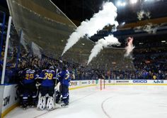 Members of the St. Louis Blues mob teammate Alexander Steen after he scored the game-winning goal during the third overtime in Game 1 of a first-round NHL hockey Stanley Cup playoff series against the Chicago Blackhawks. 4-17-14