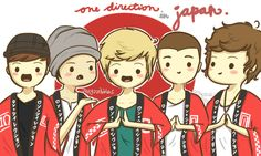 One Direction cartoon from when they were in Japan. This is the cutest thing ever!!!