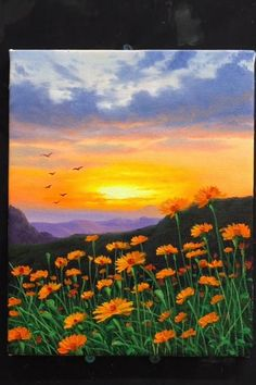 Para Artes👍 paintings for beginners simple kids Sunset Wildflower Landscape Acrylic Painting Small Canvas Art, Diy Canvas Art, Acrylic Painting Canvas, Acrylic Art, Painting Art, Painting Tools, Painting Videos, Hawaii Painting, Dandelion Painting