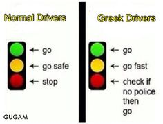 Greek traffic lights, funny!