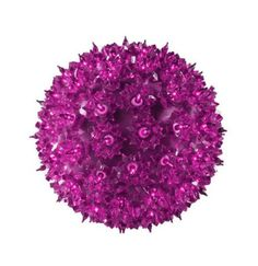 "10"""" Pink Lighted Purple Hanging Mega Starlight Sphere Ball Christmas Decoration"