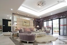 Modern pop ceiling designs for luxury living room with gray curtains