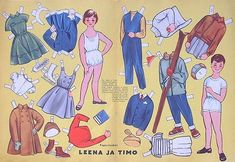 Paper Dolls Leena and Timo in magazine Kotiliesi at 1957