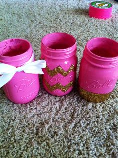 #DIY #dorm #college mason jars to hold pens or make up brushes.