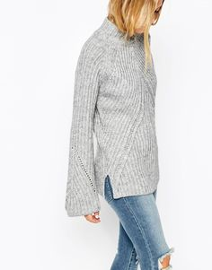 Image 3 of ASOS Chunky Sweater With High Neck And Moving Rib