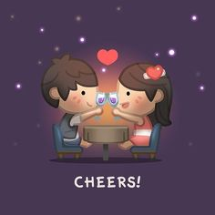 :) I don't drink wine/champagne/beer. I like soda/juice/water. :) Cheers you with a bottle of Dr. Cute Love Stories, Love Story, Anime Chibi, Kawaii Anime, Chibi Cat, Hj History, Chibird, Cute Love Cartoons, Couple Wallpaper