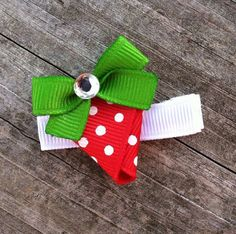 Juicy Red Strawberry Ribbon Sculpture Hair Clip - Toddler Hair Bows - Girls Hair Accessories.. Free Shipping Promo. $3.25, via Etsy.