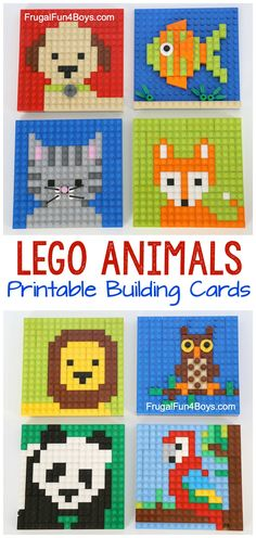 LEGO Animal Mosaic Building Cards - 8 different animal pattern cards for kids to build Fun LEGO ideas Would make a great classroom learning center Lego Girls, Lego For Kids, Boys, Lego Minecraft, Minecraft Houses, Lego Lego, Minecraft Skins, Lego Batman, Batman Logo