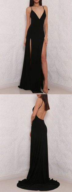 Sexy Black Spaghetti Strap Prom Dress,V neck Prom Dress,Open Back Prom Dress with Side Slit,Woman Formal Dresses,Long Party Dress,Simple Prom Dresses