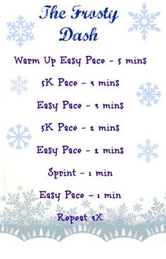 Winter speed work that can be done on the treadmill. Frosty Dash - winter speed work - happyfitmama.com