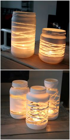 Wrap and secure yarn in any patten around a jar. Secure the yarn with tape on the top of the jar then on the bottom of the jar. Spray-paint jar in a matte color of your choice. Remove the yarn and let dry. Diy Candles, Candle Jars, Mason Jar Candle Holders, Glow Mason Jars, Spray Paint Mason Jars, Diy Yarn Holder, Painted Jars, Hand Painted, Mason Jar Crafts