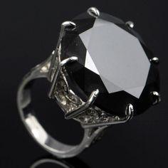 Massive 50carat Natural Enhanced Black Diamond Ring