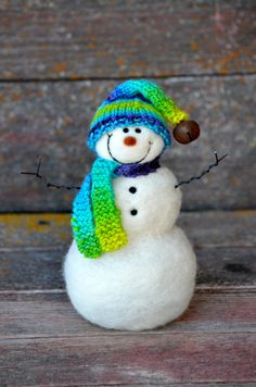 Needle Felted Snowman #385 by Teresa Perleberg