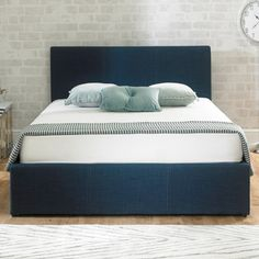 Versatile storage ottoman bed frame upholstered in a blue fabric. Small Double x Double x King Size x or Super King x Manufactured by Emporia. Upholstered Ottoman, Cheap Bedding, Blue Bedding, Stylish Bedroom, Ottoman Bed, Beds For Sale, Fabric Ottoman, Bed Frame, Fabric Bed Frame