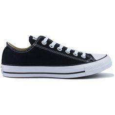 Converse All Star Chunk Taylor Canvas Black Lo Top Sneakers (155 BRL) ❤ liked on Polyvore featuring shoes, sneakers, converse, black, canvas shoes, converse trainers, converse sneakers, lace up shoes and black canvas shoes