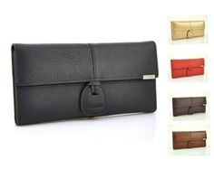 New-Women-Genuine-Leather-Wallets-Real-Cow-Trifold-Purse-Card-Holder