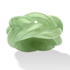 Genuine Green Jade Braided Eternity Band Ring at PalmBeach