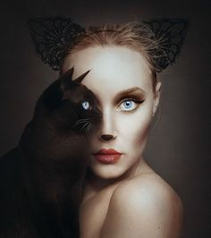 "Amazing photography by artist Flora Borsi. This photoshop in real life ""animeyed"" Flora Borsi and her makeup skills. She become one with animals by replacing her eyes with theirs. Creative Photography, Fine Art Photography, Photography Ideas, Artistic Photography, Fantasy Photography, Photography Trips, Photography Hashtags, Photography Outfits, Photoshop Photography"