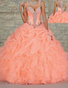 Custom Made 2015 Luxury Coral Quinceanera Dress Sexy Sweetheart Floor Length Organza Crystal Beaded Long Prom Ball Gown Wedding Dresses Online with $113.93/Piece on Olesa's Store   DHgate.com