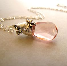 Pink Butterfly Necklace Vintage Faceted Glass by BellinaCreations, $32.00