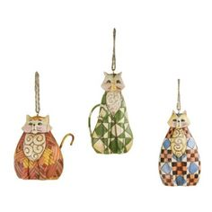 Amazon.com - Jim Shore Heartwood Creek Cats with Quilt Pattern Hanging Ornaments, Set of 3, 3-1/2 Inches