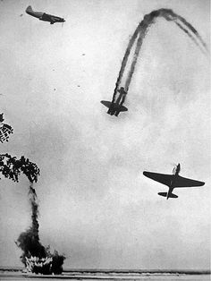 photo taken the Soviet MiG-3 and Yak-9, downed German bomber Junkers Ju-88. If you look above and to the left of the last visible point – that is three more aircraft.