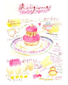 Laduree religieuse recipe print, Kitchen poster, Watercolor painting, Pink Wall decor, Bakery art