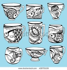 A tea set. Cups with painted fish. Stylized cup with marine life. Line art…