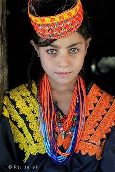Kalash girl, Chitral district, Pakistan. The Kalash are an ethnic group inhabiting the Chitral district in Pakistan. There is a myth that they are descendants of Alexander the greats army. Kalash mythology and folklore is often compared to that of Ancient Greece. Their believes are highly focused onspiritualityand nature.