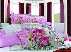 4 Piece Superior Quality Cotton Bedding Sets with Lilac Floral Print 3d Bedding Sets, Twin Comforter Sets, Cotton Bedding Sets, Pink Bedding, Luxury Bedding Sets, Queen Size Duvet Covers, Duvet Cover Sets, Bedroom 2018, Bedrooms