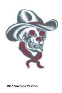 Tattoo Vintage Skull Cowboy by Morris Costumes. $2.20. Temporary Tattoo. So realistic your friends will think it's real.