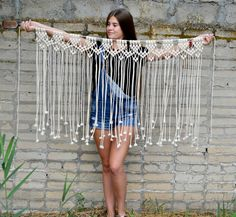 Add bohemian style for your home! This beautiful macramé wall hanging was made by hand from unbleached cotton cord. This piece adds texture and interest to any room! You can hang it on a window, door, above a dresser, a fireplace, a bed or sofa. Extra rope on sides so you can hang and adjust as wanted. This item is READY TO SHIP. ~~~~~~~~~~~~~~~~~~~~~~~~~~~~~~SIZE~~~~~~~~~~~~~~~~~~~~~~~~~~~~~~~~ Width: 47 inches (120 cm), horizontally Height: 32 inches (81 cm) ~~~~~~~~~~~~~~~~~~~~~~~~~~...