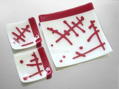Red White Glass Platter SET Fused Glass Plate by FleetingStillness Red White Glass Platter SET Fused Glass Plate Abstract Hieroglyphs Serving Dish Sushi Organic Design HandmadeFused Glass  Ask a question  $75.00