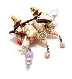 Robert Ebendorf Green Unplugged Brooch #1 2011: mixed media, pearls