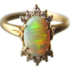 Estate Fiery Opal and Diamond 14K Yellow Gold Ring, Size 8-3/4