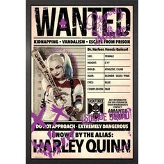 Suicide Squad Harley Wanted Framed Maxi Poster ❤ liked on Polyvore featuring home, home decor, wall art, home wall decor, interior wall decor, wall posters and framed wall art