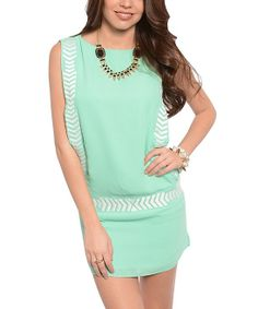 Mint Chevron Embroidered Drop-Waist Dress | Daily deals for moms, babies and kids