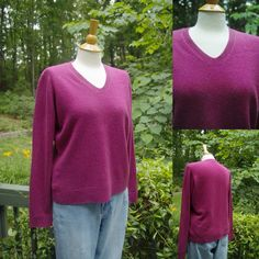 1990s Vintage Fuchsia Colored V Neck Cashmere Sweater, from Valerie Stevens Separates,  size L by HiddenTreasureHunter on Etsy