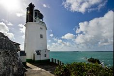 Lighthouse at Saint Anthony Head, across the bay from pretty St. Mawes in Cornwall, England