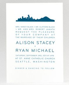 Seattle Cityscape Signature White Wedding Invitations in Suede