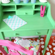 7 Happy Furniture Makeovers at Fresh Idea Studio ~ Your place for DIY {desk shown painted in Annie Sloan's  Antibes Green}