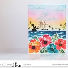 I am sharing a birthday card for this month's challenge, this time making a non-birthday scene into a birth… Mama Elephant, Sea Theme, Ocean Themes, Stamping Up Cards, Lawn Fawn, Pretty Cards, Hero Arts, Card Kit, Flower Cards