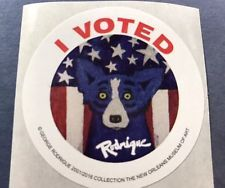 Bid Now! George Rodrigue Blue Dog I Voted Sticker 2016 Election