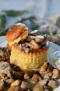 Vol au vent aux champignons sauce foie gras - Tangerine Zest Vol Au Vent, Antipasto, Easy Cooking, Cooking Time, Sauce Au Foie Gras, Brunch, Savory Tart, Cheat Meal, Finger Foods