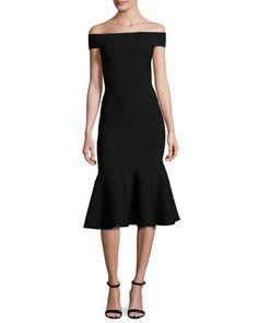 Off-the-Shoulder+Mermaid+Midi+Dress,+Black+by+Milly+at+Bergdorf+Goodman.