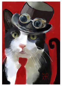 Original TW ACEO Nov Steampunk Cat Art Hand Cat Cute Animal Painting M-A Reed