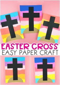 This simple Easter cross craft is packed full of color and fun for kids of all ages. Make this beautiful Easter craft for Sunday school or at home. sunday school crafts preschool Easy Easter Cross Craft for Kids Sunday School Crafts For Kids, Easter Crafts For Toddlers, Easter Arts And Crafts, Spring Crafts For Kids, Easter Activities, Easter Ideas, Kids Crafts, Construction Paper Crafts, Cross Crafts