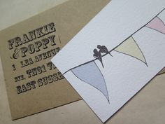 Wedding Invitations, Bunting, Rye, Sussex, love birds, bespoke wedding invites, hand drawn, unique, tailor made.